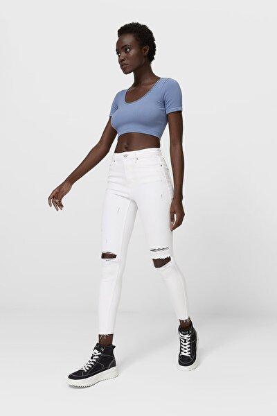 Kadın Beyaz Distressed Detaylı Yüksek Bel Jean