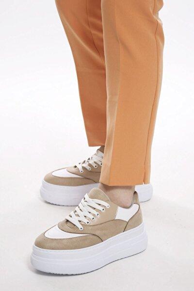 Kadın Ten Beyaz Kalın Tabanlı Spor Ayakkabı Sneaker
