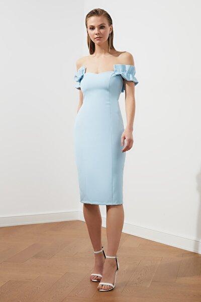 Mavi Fırfırlı Elbise TPRSS21EL2188