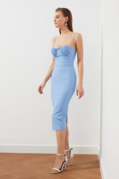 Açık Mavi Drapeli Elbise TPRSS20EL1431
