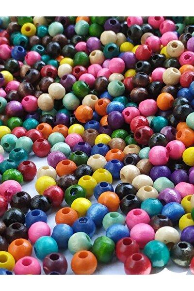 6 Mm Karışık Renk Ahşap Boncuk 80 Gr ( 700 Ad.)