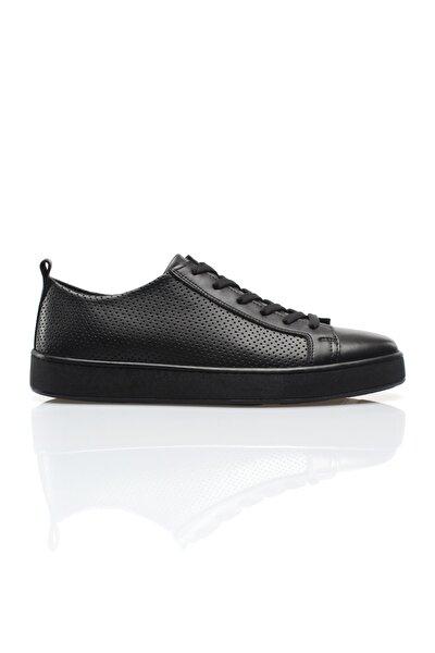 Siyah Hakiki Deri Delikli Erkek Günlük Ayakkabı