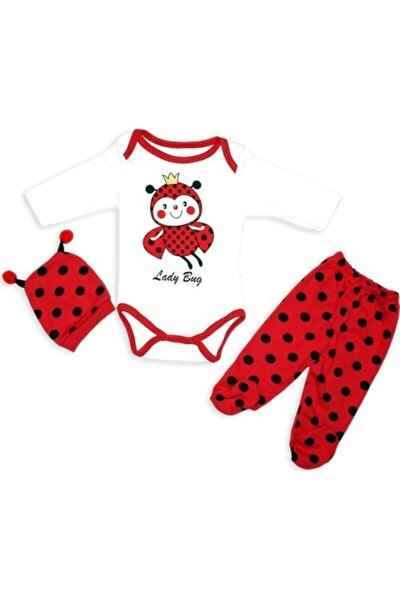 Kız Bebek Kırmızı Uğur Böceği Badili 3'lü Takım
