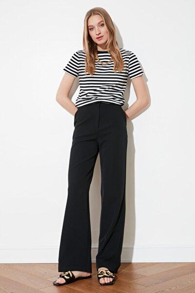 Siyah Dökümlü Geniş Paçalı  Pantolon TWOAW21PL0332