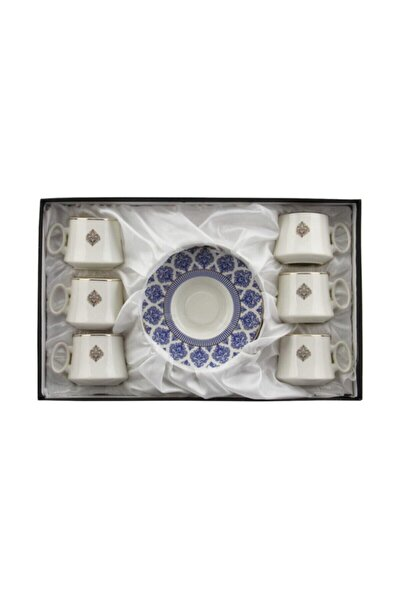 6'lı Lüks Yaldızlı Porselen Kahve Fincan Takımı - Mavi