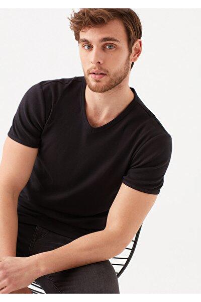 ErkekSiyah V Yaka Siyah Basic Tişört