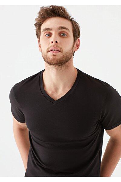 V Yaka Streç Siyah Basic Tişört