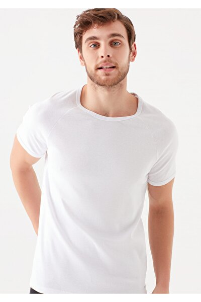 Bisiklet Yaka Beyaz Basic Tişört