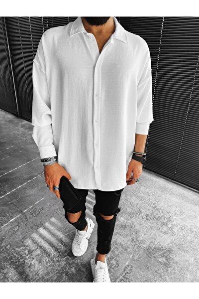 Erkek Beyaz Düğmeli Gömlek