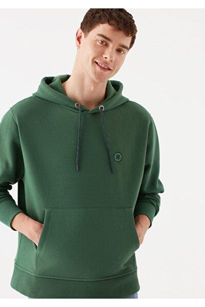 Logolu Kapüşonlu Yeşil Sweatshirt