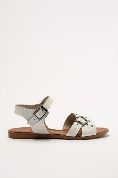 Hakiki Deri Beyaz Kadın Sandalet 01AYY212330A770