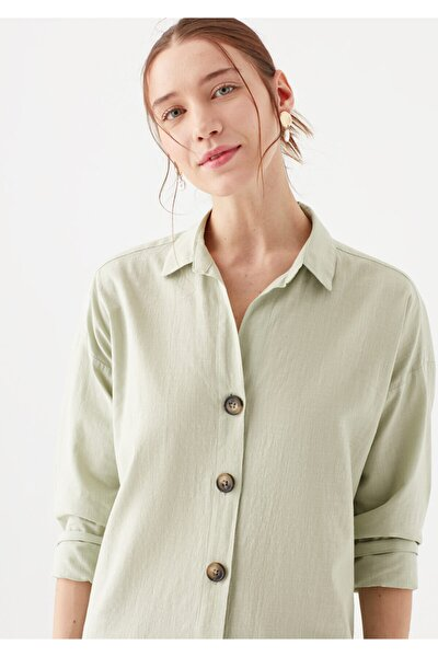 Uzun Kollu Düğme Detaylı Yeşil Gömlek