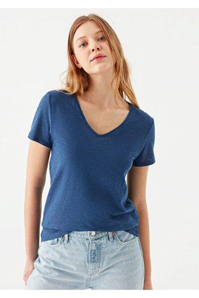 V Yaka Mavi Basic Tişört