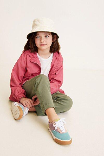 Haki Renk Kız Çocuk Düz kesim yumuşak pantolon