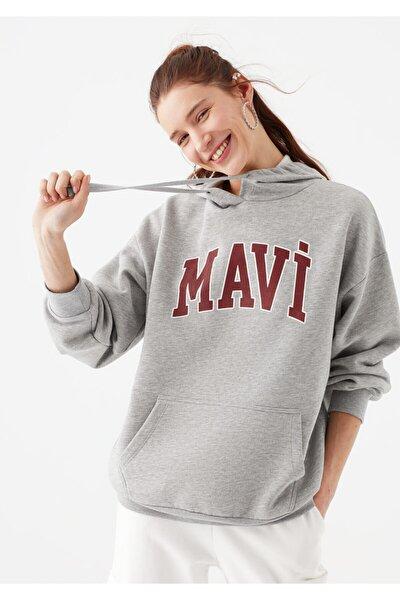 Kadın Logo Baskılı Gri Sweatshirt 1600361-33396