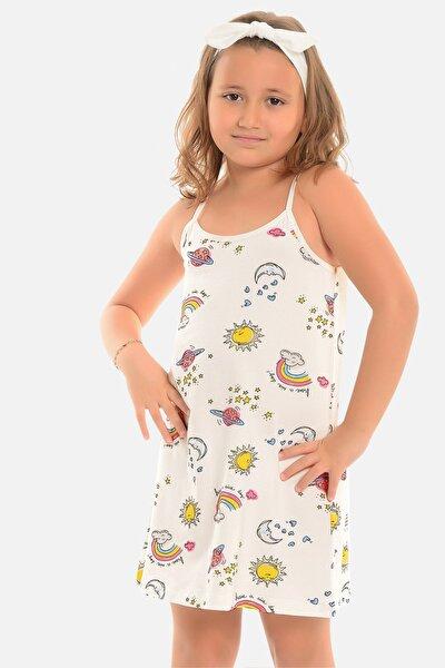 Kız Çocuk Ekru Ip Askılı Tunik