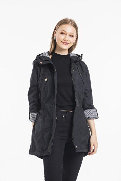 Kadın Ceket Yaka Beli Lastkli Katlanabilir Kol Astarlı Trençkot