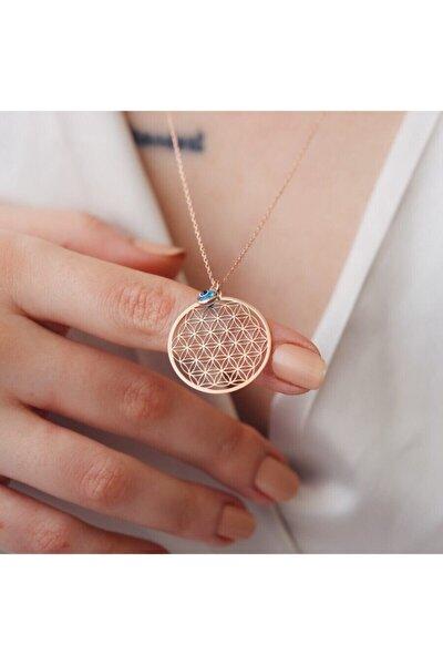 Kadın Pembe  Yaşam Çiçeği Gözlü Gümüş Kolye