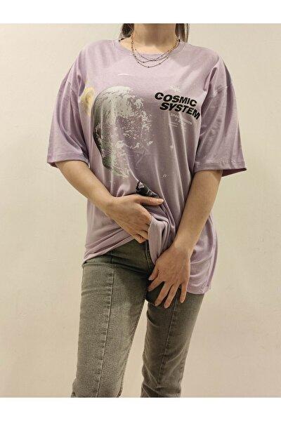 Kadın Mor Gezegenler Baskılı Sırt Yazı Baskılı Oversize T-shirt