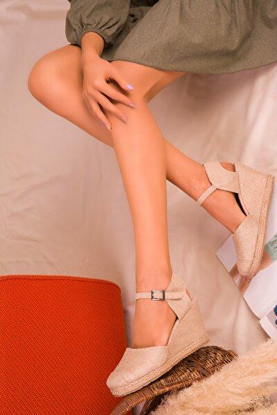 Keten  Kadın Dolgu Topuklu Ayakkabı 15989