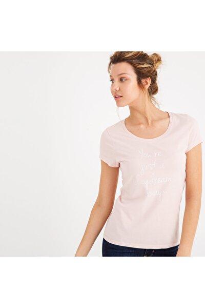 Kadın Baskılı T-shirt Açık Pembe