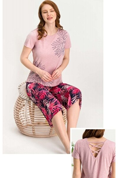 Kadın Pembe Kaprili Pijama Takım 708