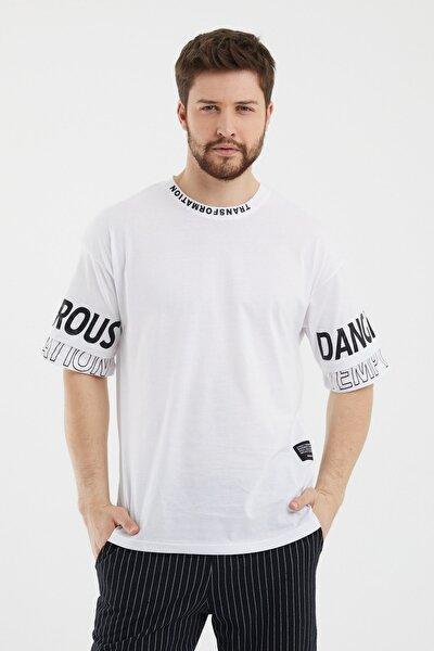 Beyaz Erkek Baskılı Kısa Kollu Oversize T-shirt transfortstr05s