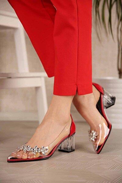 Kadın Şeffaf Taşlı Topuklu Ayakkabı