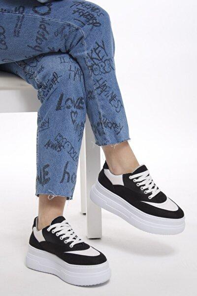 Kadın Siyah Beyaz Kalın Tabanlı Spor Ayakkabı Sneaker Afl072