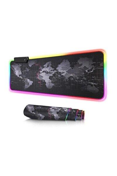Dünya Desenli Işıklı Rgb Oyuncu 78x30 cm Kaymaz Ledli Mouse Pad Pra-3232915-4945