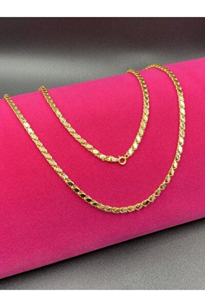 Kadın Altın Pullu Zincir Kolye 50 cm
