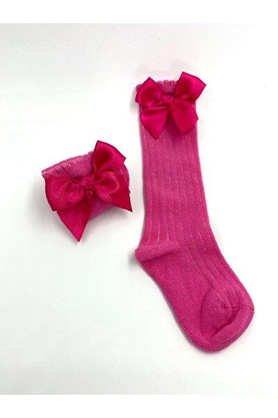 Kız Bebek Fuşya Fiyonklu Diz Altı Çorap
