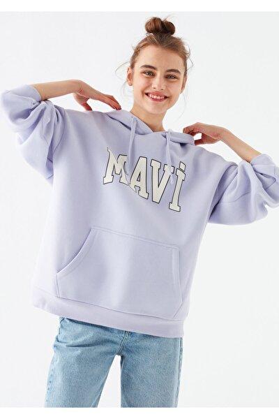 Kadın Mor Logo Baskılı Sweatshirt