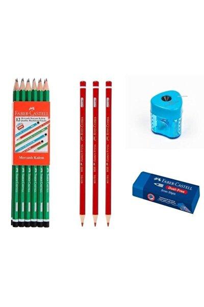 12 Li Kurşun Kalem+ 3 Kırmızı Kalem+ Silgi+ Kalemtraş