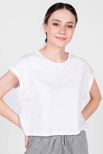 Kadın Beyaz Bisiklet Yaka Basic T-Shirt P0934 - Dk3 Adx-0000022259