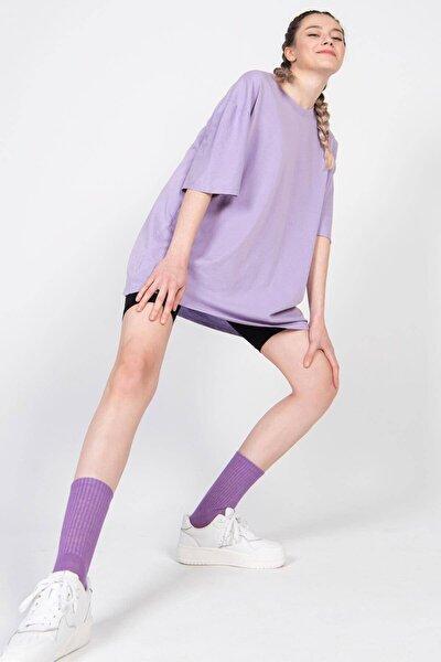 Kadın Eflatun Basic T-Shirt P9439 - F3 Adx-0000022241
