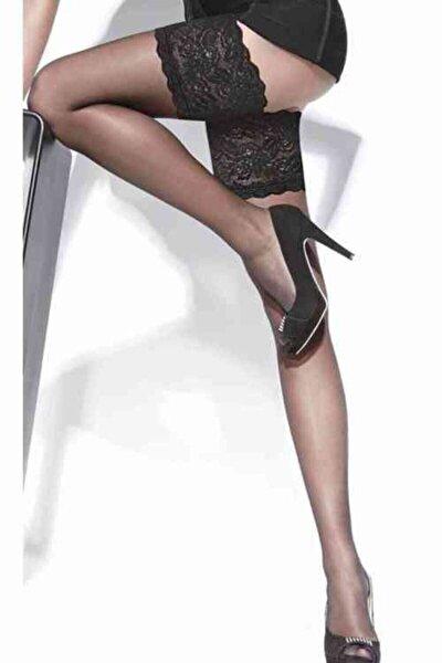 Kadın Siyah Dantelli Ve Silikonlu Jartiyer Çorabı