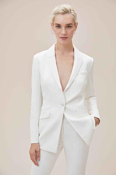 Beyaz Bol Kesim Krep Takım Elbise Gelinlik Ceketi
