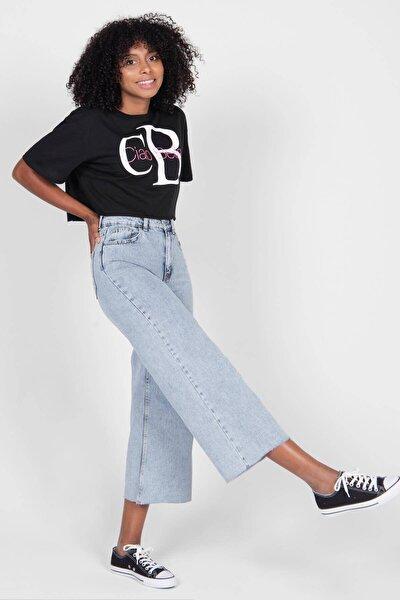 Kadın Siyah Baskılı T-Shirt P12123 - E3 Adx-0000022683