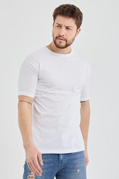Erkek Beyaz Slim Fit Kolu Katlamalı Basic T-shirt