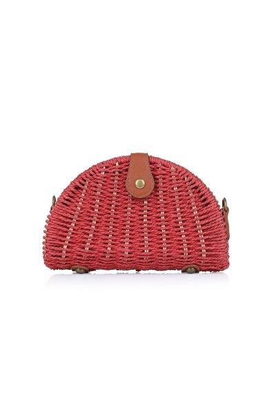 Kadın Kırmızı Hasır Çanta 1008