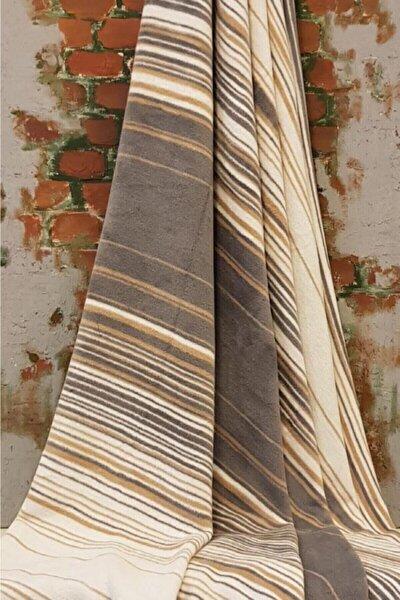 Pamuklu Battaniye Tek Kişilik 150x200 Striped Bej