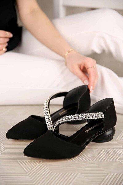 Kadın Yumurta Topuklu Günlük Ayakkabı Siyah Süet