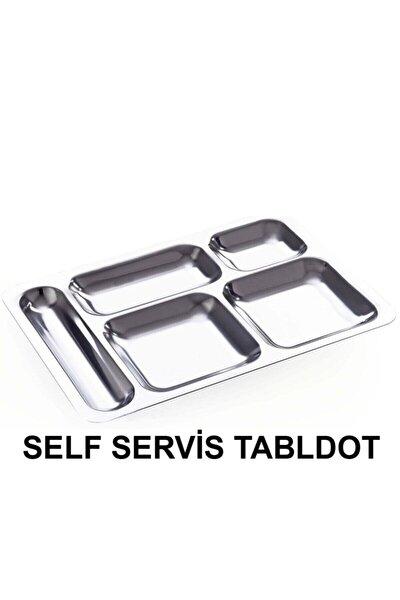 10 Adet Tabldot Paslanmaz Çelik Self Servis 5 Bölmeli Faturalı Garantili