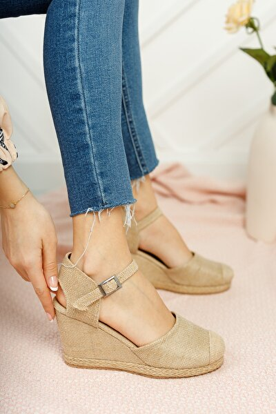 Kadın Hasır Dolgu Topuklu Ayakkabı Md1013-120-0004