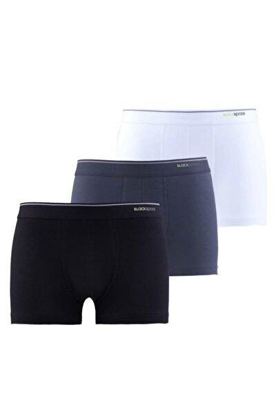 Erkek Boxer - Shorty 3'lü Paket 9670 - Beyaz Siyah Antrasit