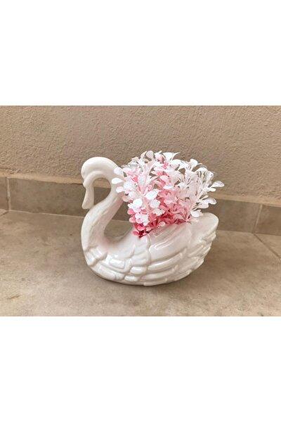 Gelincik Dekor Yapay Beyaz Kuğulu Pembe Çiçek