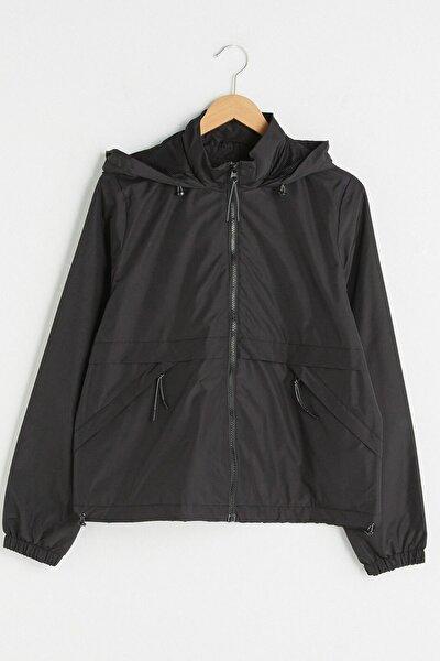Kadın Yeni Siyah LCW Casual Yağmurluk