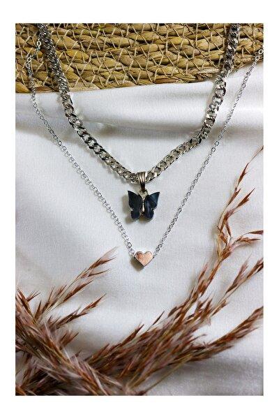 Gümüş Kaplama Kalın Zincirli Siyah Kelebek Ve Kalp Kolye