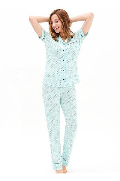 Kadın Yeşil Black Spade 50502 Boy Düğmeli Pijama Takımı